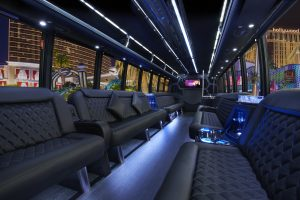 Inside the 40 person passenger party bus DEUCES