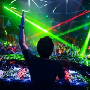 DJ hyping the crowd at a Las Vegas nightclub
