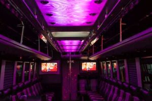 Interior shot of BIG TIME 40 passenger party bus in Las Vegas