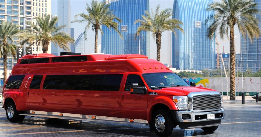 Big Red mega party bus limo